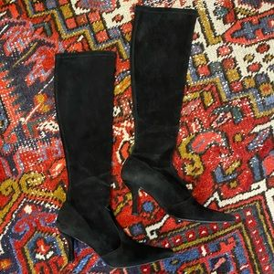 Stuart Weitzman Suede Pointed Toe Knee High Boots